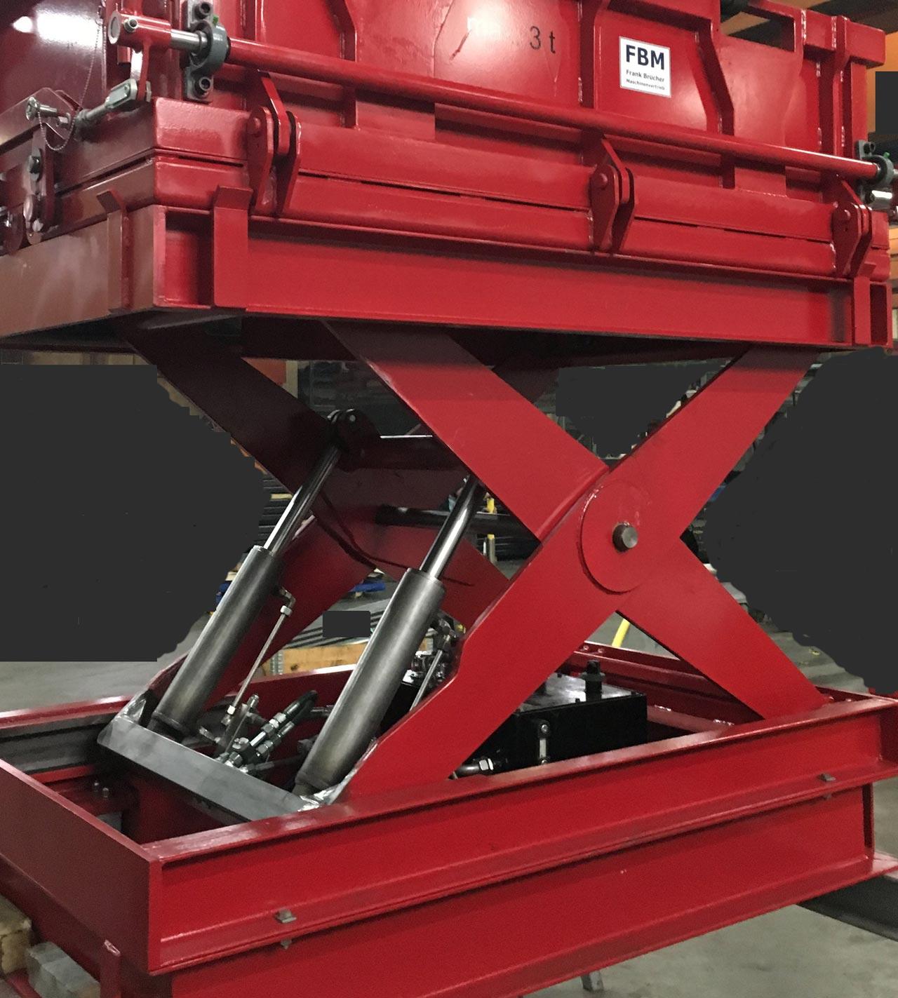 Hubtisch mit Schrottbox, Scherenhubtisch, fahrbarer Hubtisch, Schrottcontainer, Hebetisch